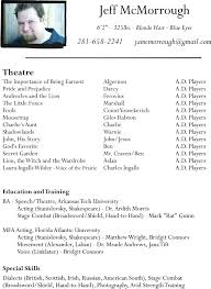 Musical Theatre Resume Template Theatrical Resume Template Word 60