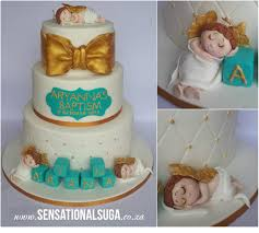 White Turquoise And Gold Angel Baptism Christening Cake