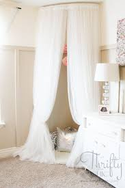 Baby Room Girls · Whimsical Canopy Tent Or Reading Nook Made From Curved  Curtain Rod And $4 Ikea Curtains