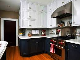 2 Tone Kitchen Cabinets Two Tone Painted Kitchen Cabinets Contemporary Style With Red
