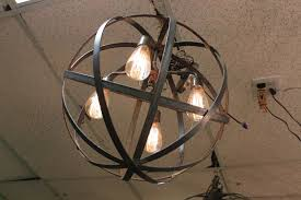 metal lighting. Industrial-sphere-chandelier-metal-strap-globe-hanging-light- Metal Lighting F