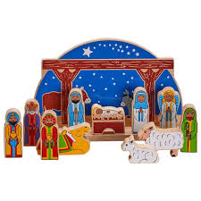 nativity with wooden blue semi circle backdrop with colourful biblical character figures animals