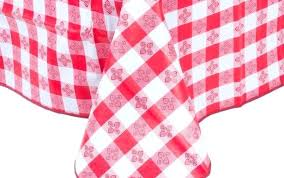 gingham plastic tablecloth blue checd empty