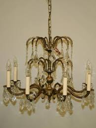 8 lt spanish brass chandelier w cascading french pendalogue crystals c 1950