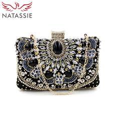 Beaded Bag Designer Natassie Women Small Black Clutch Bags New Vintage Bag Ladies Evening Clutches Purses Designer Handbags High Quality