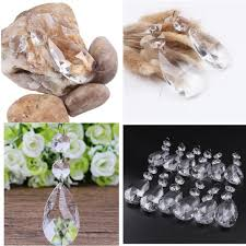 12 pieces clear crystal teardrop chandelier prisms hanging glass pendants beads