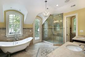 clawfoot tub bathroom ideas. This Spacious Bathroom Features A Large Corner Shower, With Unique Angled Ceiling. The Clawfoot Tub Ideas