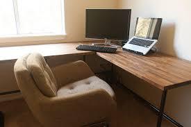 corner office desk wood. Office \u0026 Workspace. Simple Desk Furniture Design Alongside Corner Natural Wooden Table Sandpaper Finished Wood E