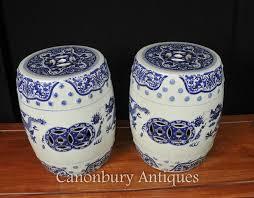 white porcelain garden stools dragon seats