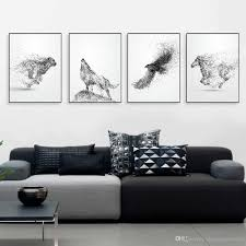 black white ink wild animal horse eagle wolf poster nordic living room wall art print picture home deco canvas painting no frame custom made pop art unique  on royal blue and white wall art with black white ink wild animal horse eagle wolf poster nordic living