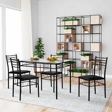 vecelo dining table set glass table and 4 chairs metal kitchen room furniture 5