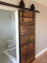 sliding barn door mushroom wood red grey hemlock contemporary bathroom