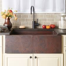 Sinks, Undermount Copper Sink Traditional Wall Mount Sink With Brown  Cabinet And White Console Pottery