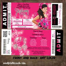 Concert Ticket Invitation Template Concert Style Quinceanera Ticket Invitations Estilo Ticket Boleto 11
