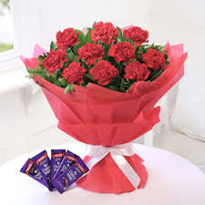 bunch of 10 red carnations with 5 bars of cadbury dairy milk