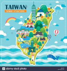 Map Design Adorable Taiwan Travel Map Design With Famous Attractions