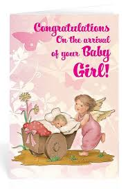 New Baby Greeting Card Girl Congratulations Guardian Angel