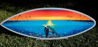 sea turtle over coral reef in sunset original painting by gary boswell on hand painted surfboard wall art with handcrafted surfboard wall art