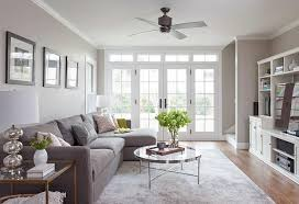 gray linen sectional with brass and