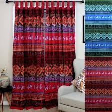 tab top curtains blue handmade cotton fl tie dye tab top curtain d panel red amp
