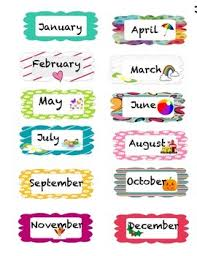 Months Of The Year Birthday Charts