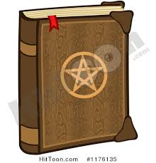 cartoon of a magic spell book with a penram on the cover royalty free vector