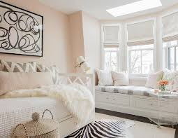 White and Pink Bedroom with Gray Accents - Transitional - Bedroom