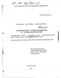 Диссертация на тему Субсидиарная ответственность в гражданском  Диссертация и автореферат на тему Субсидиарная ответственность в гражданском праве научная