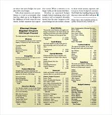 Church Budget Template Excel Sample Church Budget Template Free 13 Excel Budget