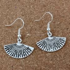 Folding Fan Ohrringe Silber Fisch Ohr Haken 20pairs Lot Antik Silber Kronleuchter Schmuck 245x34mm A 204e