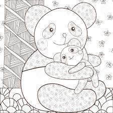Kleurplaat Schattige Panda Knuffelen Zijn Baby Grillige Lijn Kunst