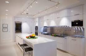 cool track lighting ideas modern kitchen white glossy cabinet blue track lighting