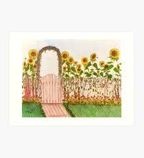 picket fence drawing. Garden Picket Fence Sunflowers Floral Cathy Peek Art Print Picket Fence Drawing