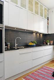 wooden flooring black countertops rectangular black matter tile backsplash fruits potted plant es red striped rug