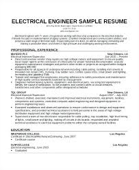 Electrical Engineer Resume Template Blaisewashere Com