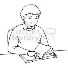 education cartoon black white outline vinyl ready back to boy reading book sitting desk