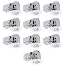 3 led ic rated swivel spotlight recessed lighting kit 10 pack dimmable downlight white finish easy install push n clips led bulbs included