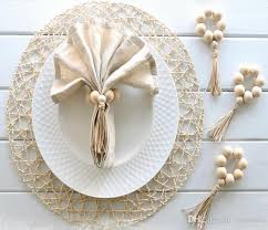 wooden bead napkin rings pendants natural wooden bead napkin holder for wedding home decor table decoration country napkin rings crab napkin rings from