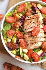grilled chicken salad. Simple Salad BLT Grilled Chicken Salad Fresh Lettuce Topped With Tomatoes Squash  Crispy Bacon U0026 And Salad