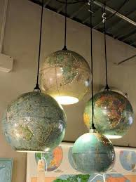 recycled globes of the world as light shades aussie lighting world