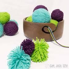 diy yarn bowl filled with blue purple and green yarn
