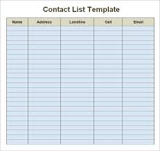 emailing list template business contact list template