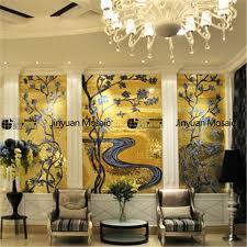 jy15 p35 golden glass mosaic flower pattern mural luxurious living room wall tile