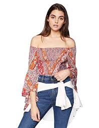 Angie Womens Angel Sleeve Smocked Crop Top At Amazon