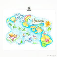 hawaiian islands map wall art
