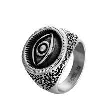 zmzy vine punk evil eye rings for men snless steel biker ring eyeball party