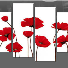 red poppies on white 4 panel canvas wall art picture 40
