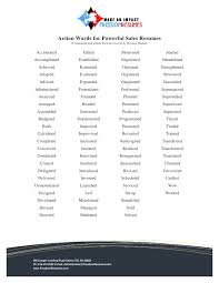 Action Words For Successful Sales Resumes Beauteous Action Words To Use In Resume