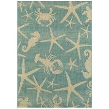 garden treasures sumburg oasis blue rectangular machine made coastal area rug common 5
