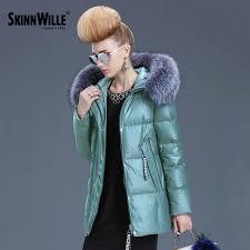 skinnwille 2017 women hooded warm coat ultra light down winter